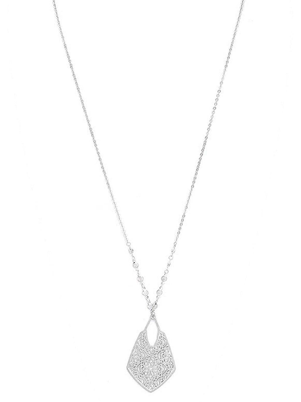 Silver Floral Filigree Long Pendant Necklace