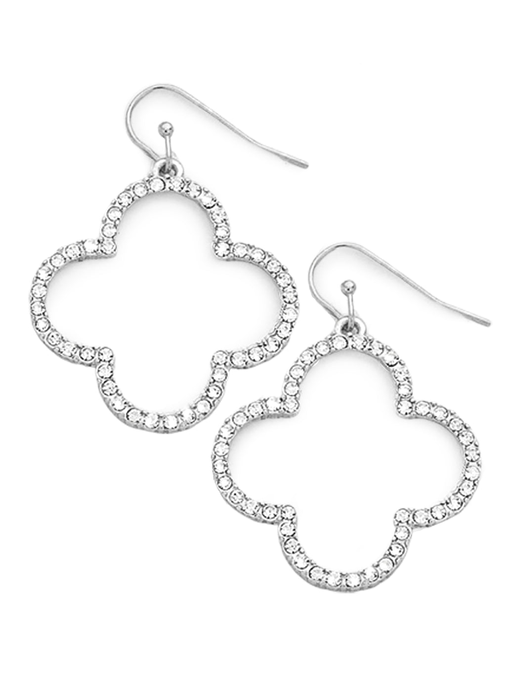 Silver Crystal Rhinestone Quatrefoil Hook Earrings