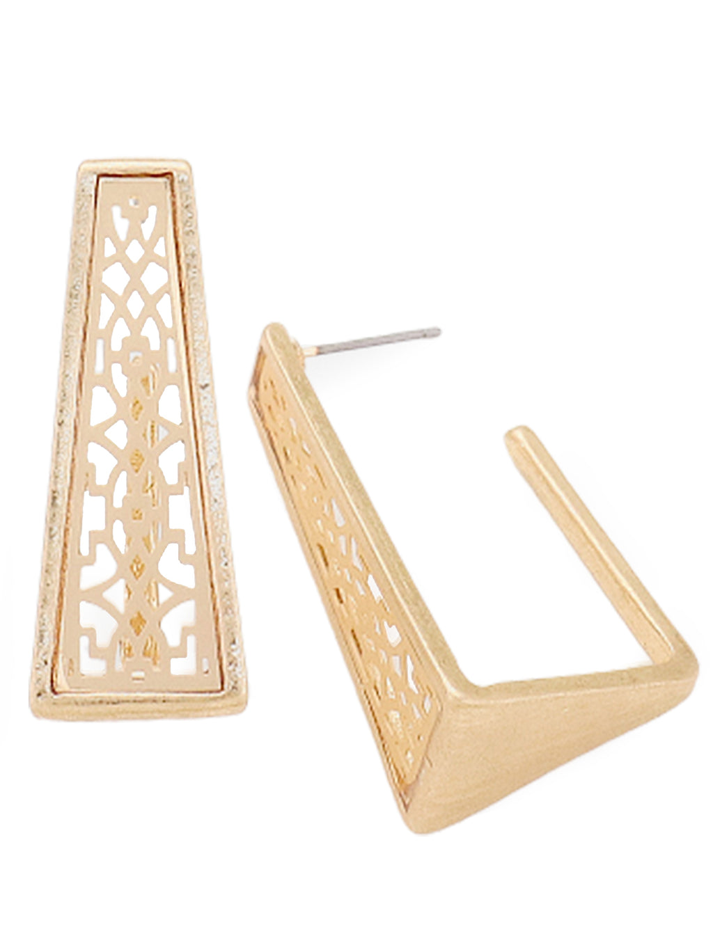 Antique Filigree Laser Cut Square Cuff Earrings