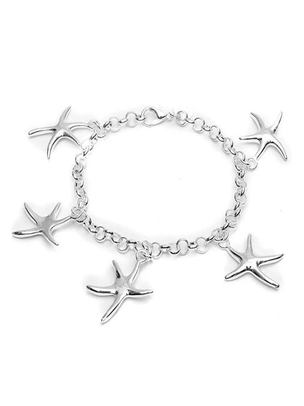 Starfish Sterling Silver Plated Dangling Charm Bracelet
