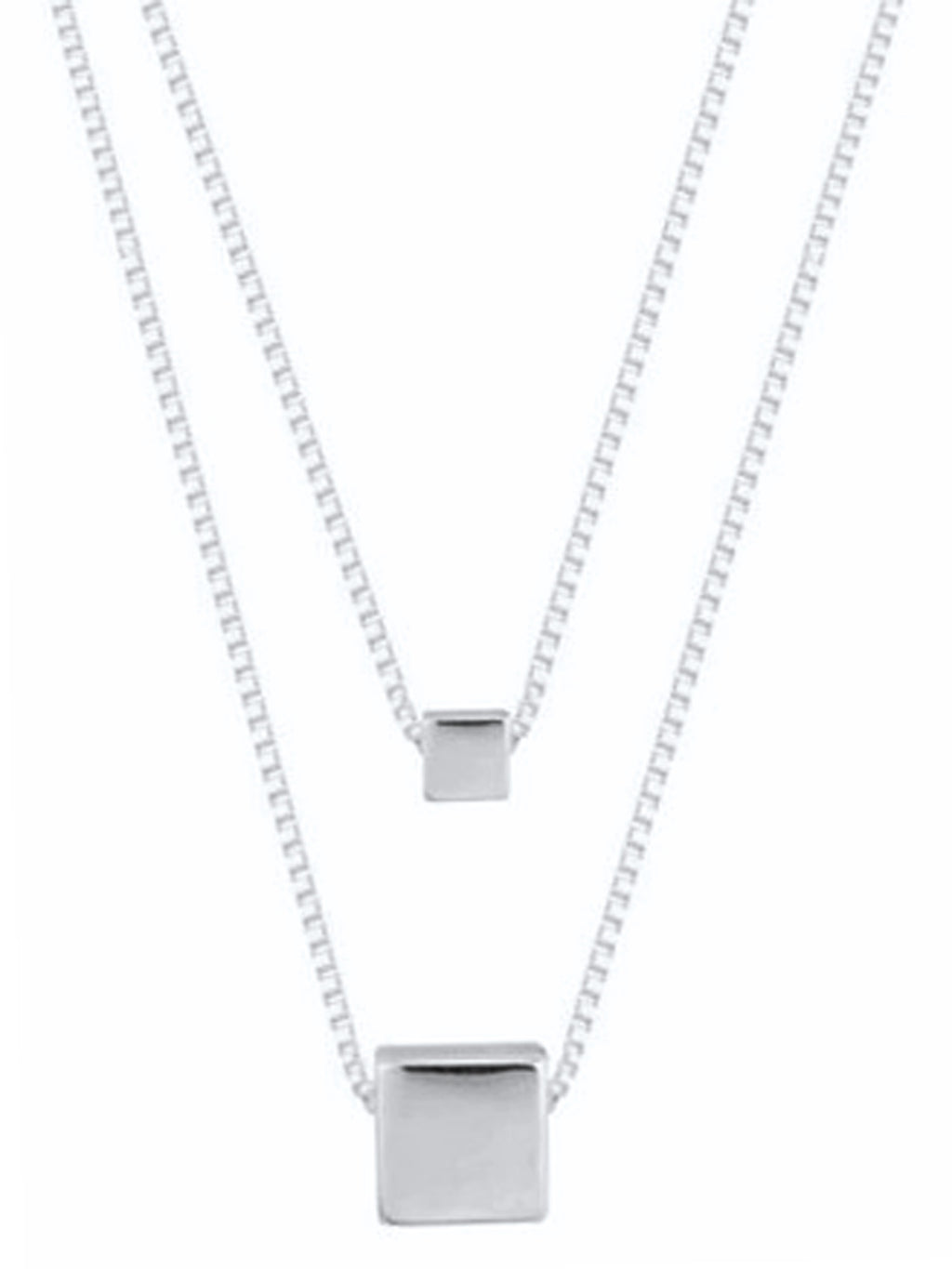 Sterling Silver Plated Two Row Necklace With Square Pendant