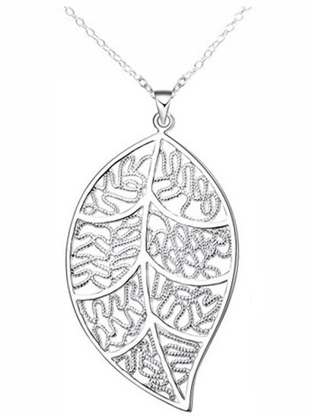 Sterling Silver Plated Filigree Leaf Pendant Necklace