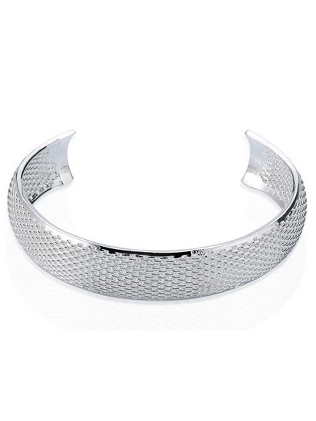 Sterling Silver Plated Mesh Cuff Bracelet