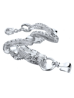 Sterling Silver Plated Chunky Dragon Link Bracelet