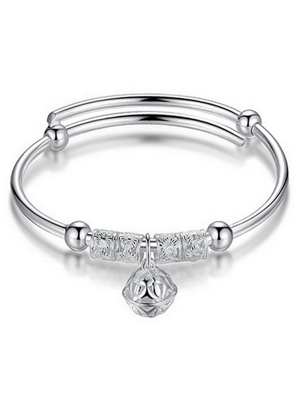 Silver Adjustable Bangle Bracelet With Filigree Ball Charm