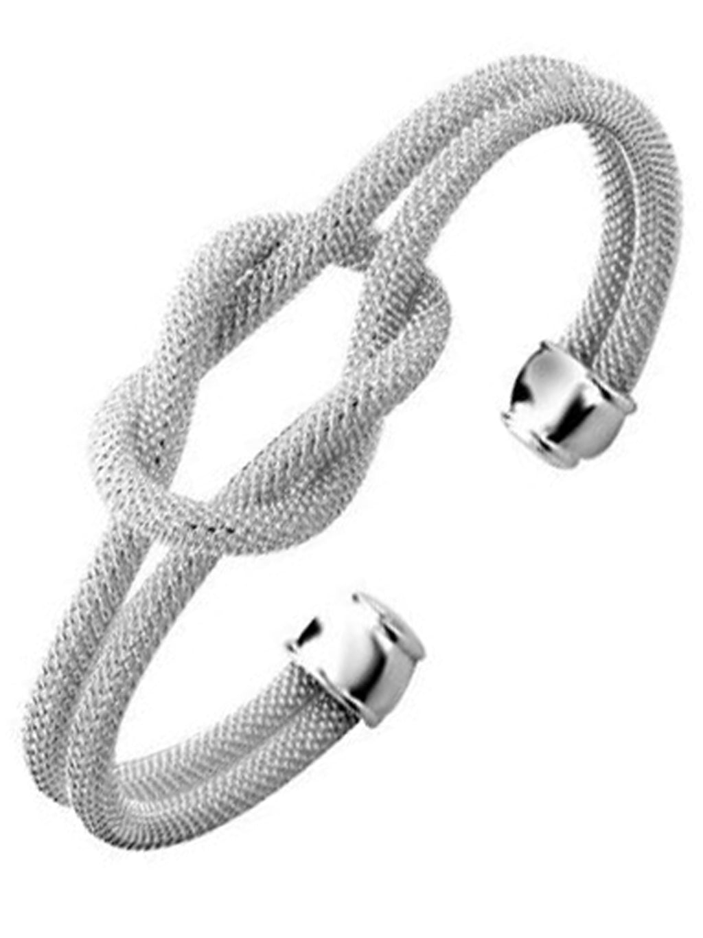 Sterling Silver Plated Knotted Rope Bangle Cuff Bracelet