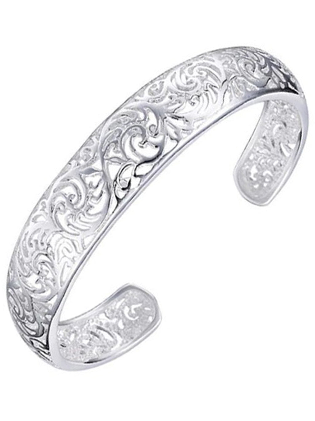 Sterling Silver Plated Filigree Bangle Cuff Bracelet