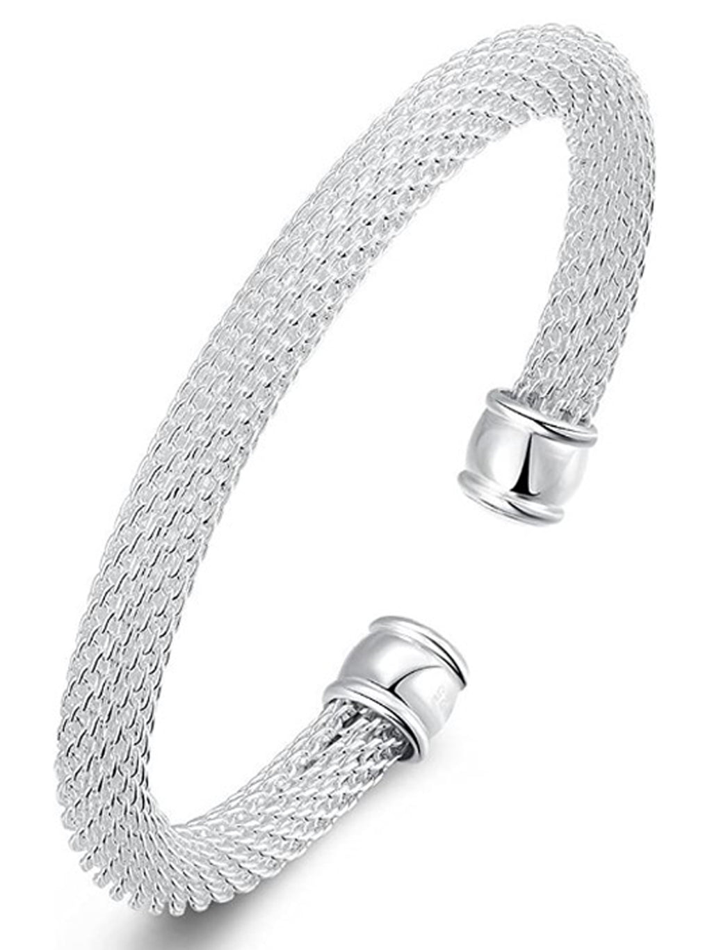 Sterling Silver Plated Mesh Rope Bangle Cuff Bracelet