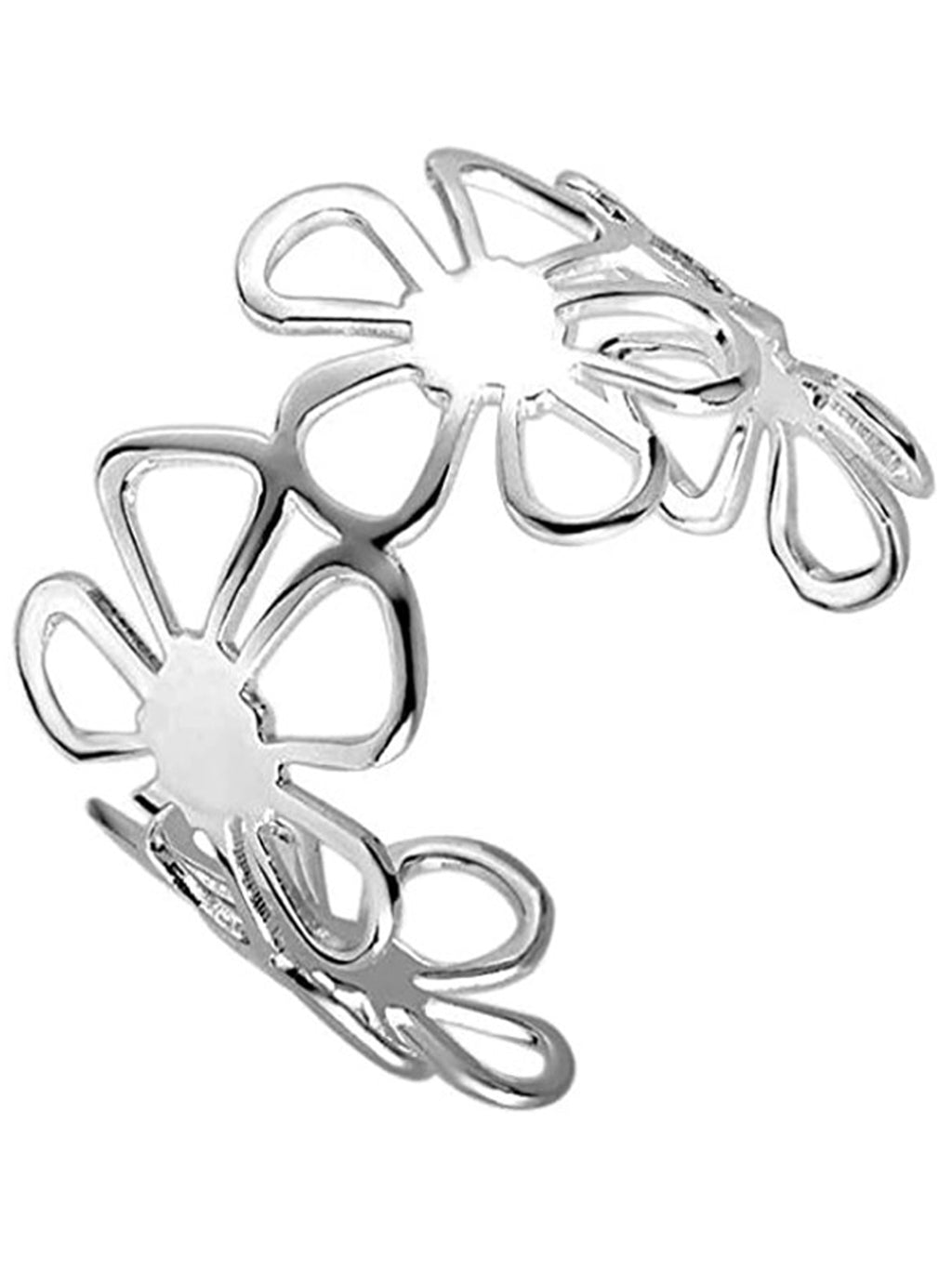 Sterling Silver Plated Retro Floral Bangle Cuff Bracelet
