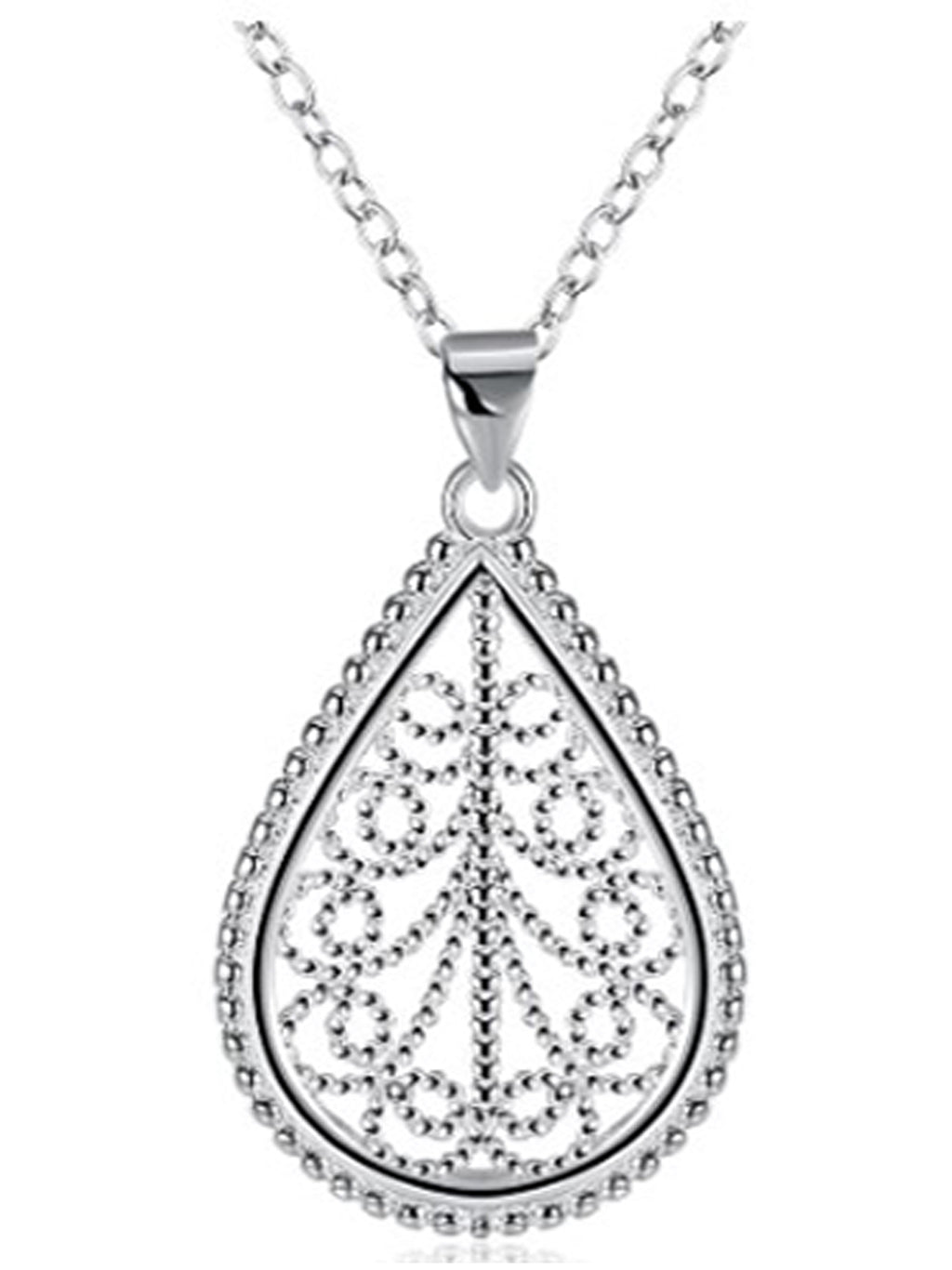 Sterling Silver Plated Retro Pendant Teardrop Necklace