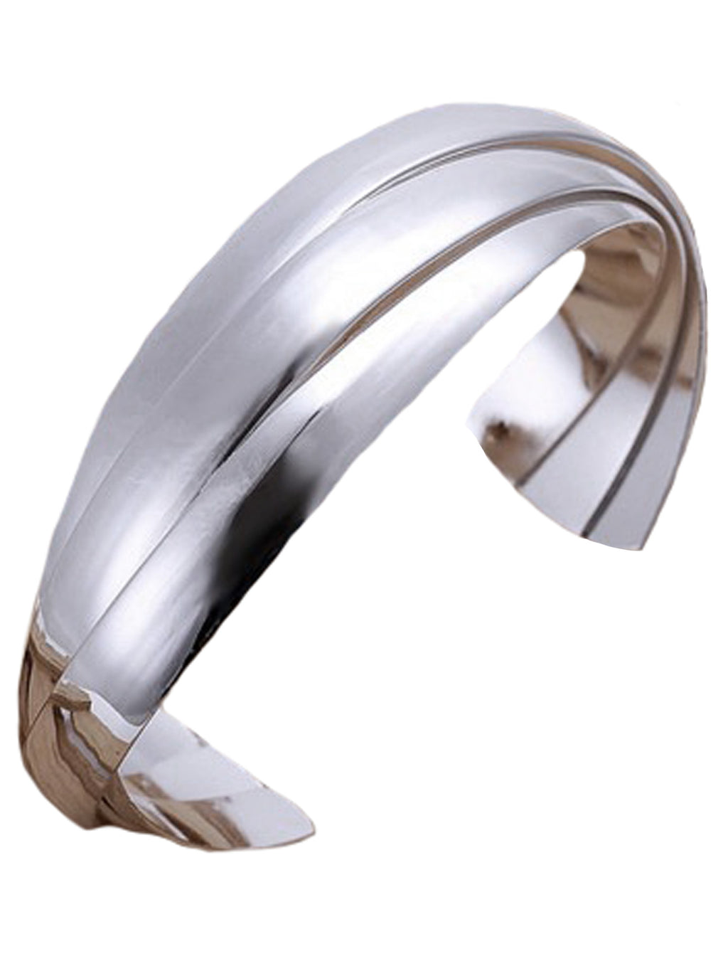 Sterling Silver Plated Wide Layered Bangle Cuff Bracelet