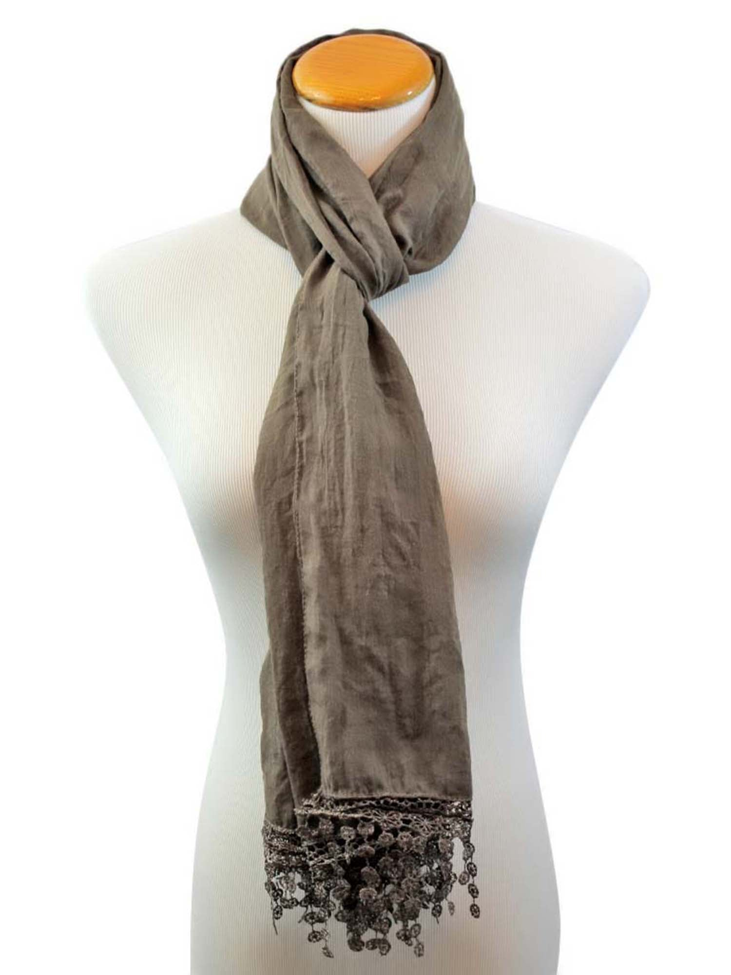 Lightweight Scarf With Lace Fringe