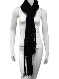 Thick Knit Long Winter Scarf With Fringe