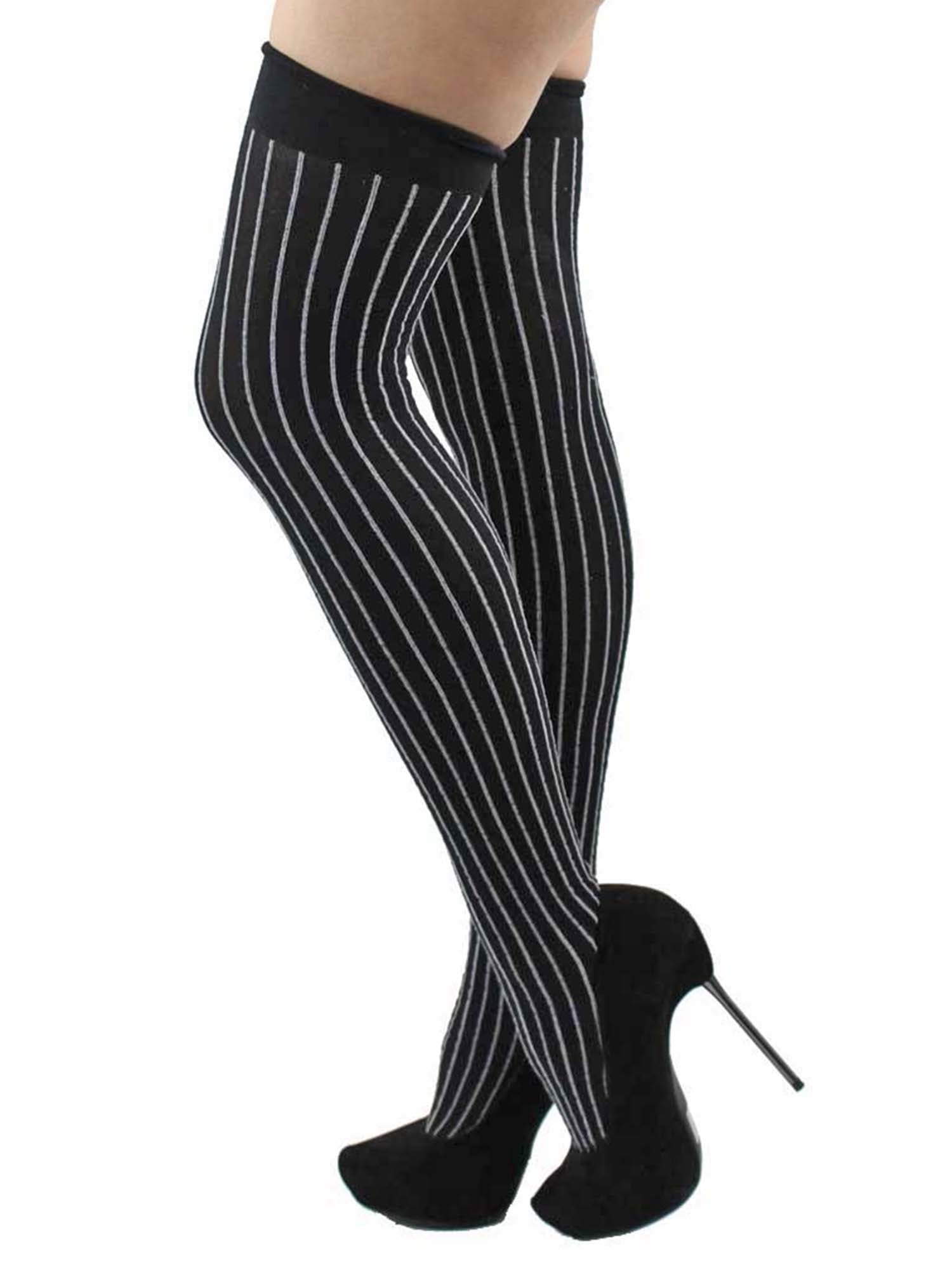 Black & Gray Pinstripe Thigh High Stockings For Women