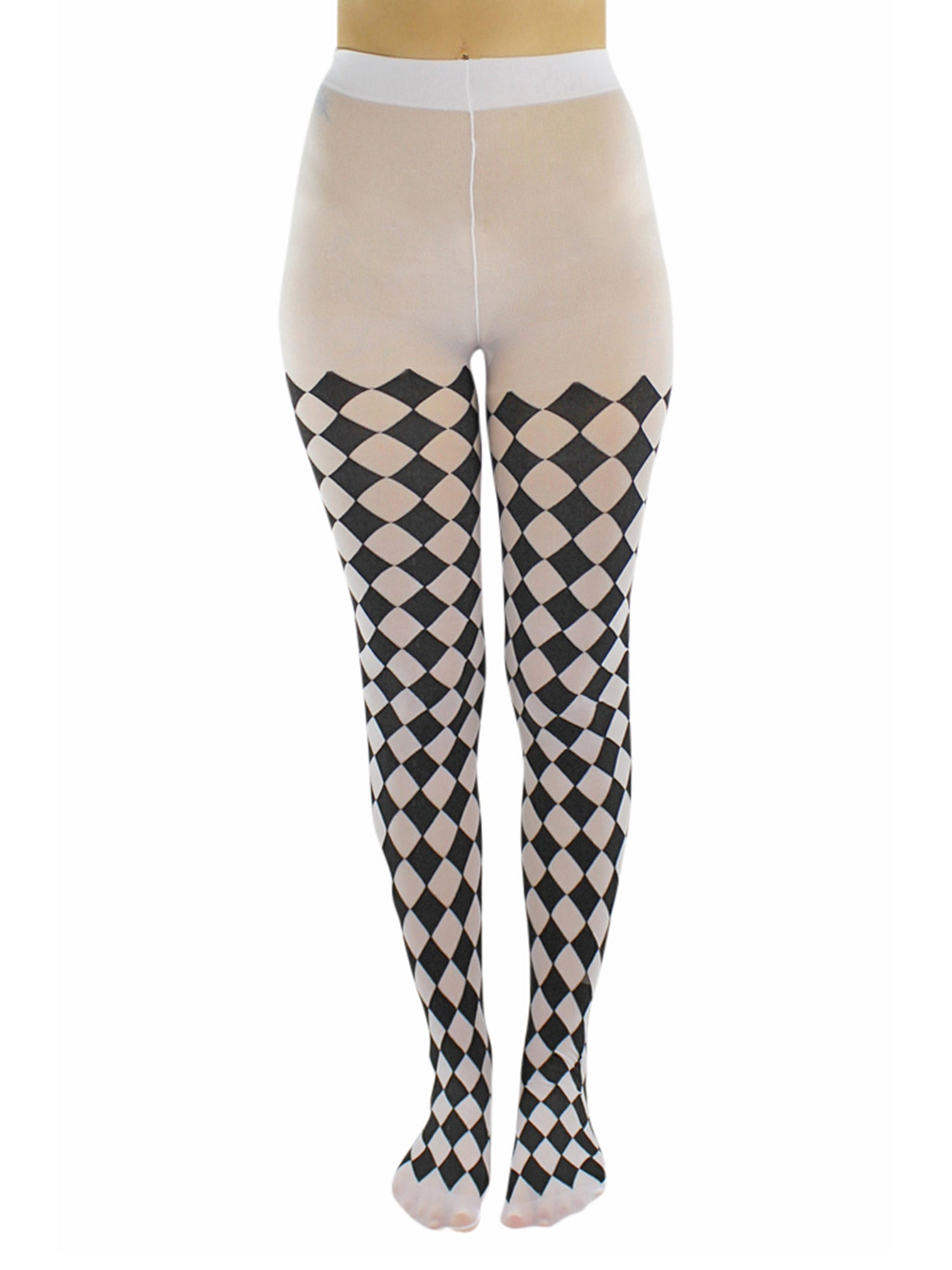 Harlequin Adults Tights Black /& White