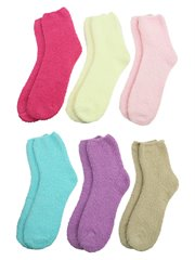 Warm & Toasty Solid Color 6 Pack Fuzzy Socks
