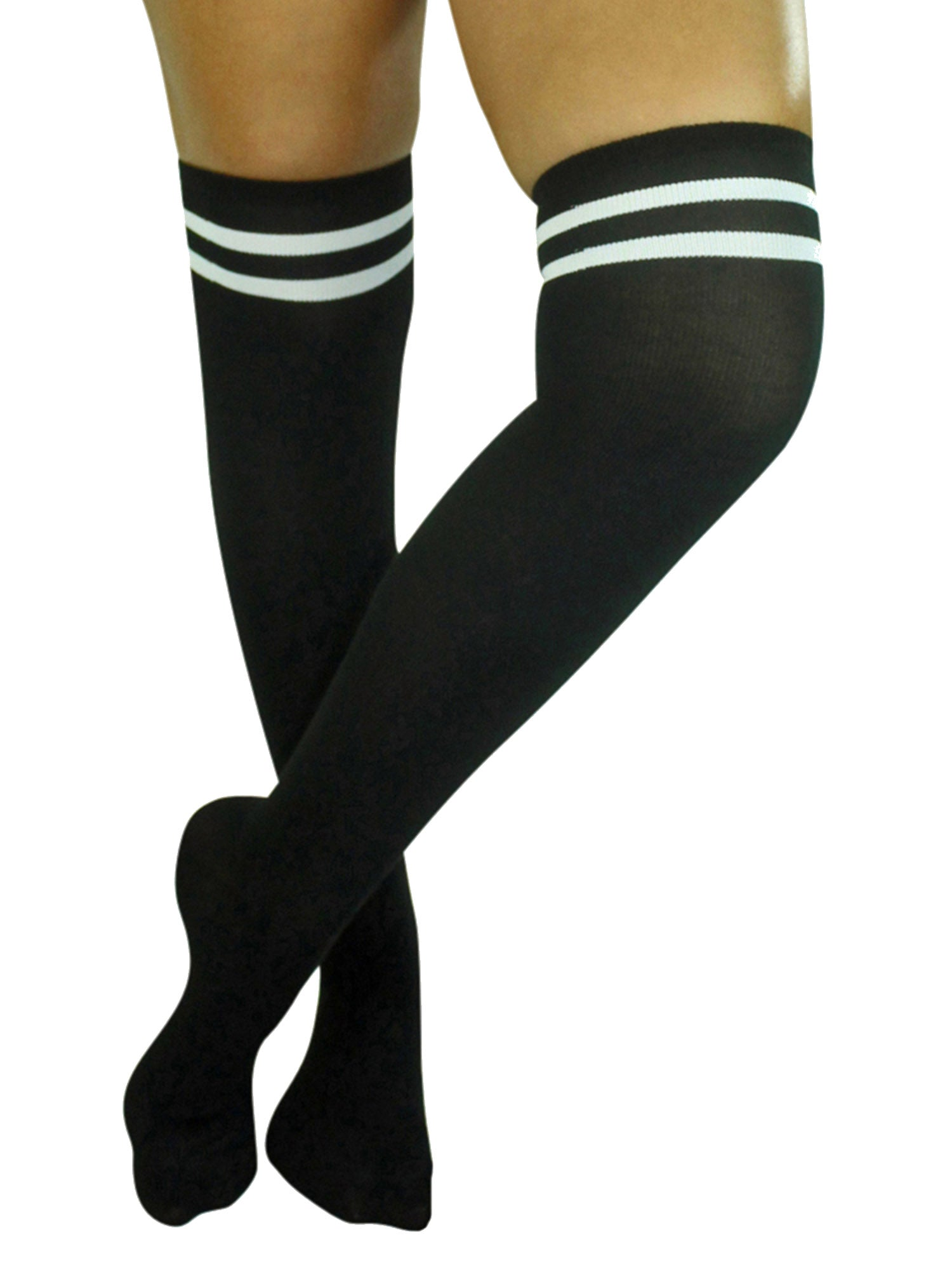 Black Thigh High School Girl Socks With Double Stripe Top