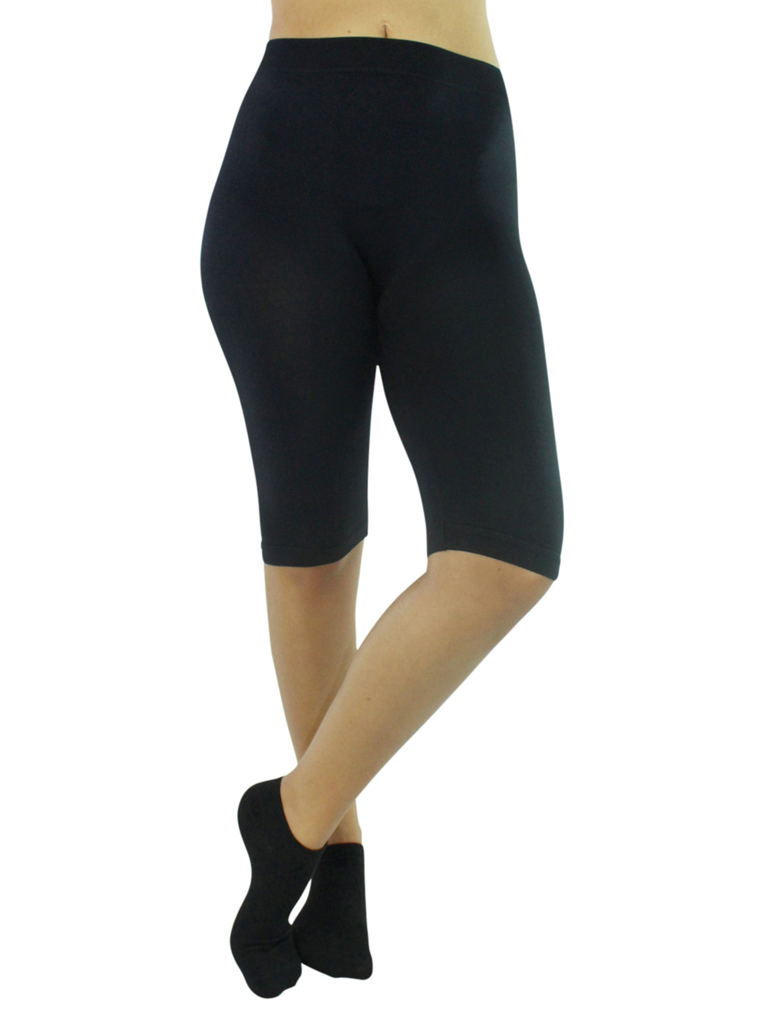 Solid Color Knee Length Stretchy Shorts