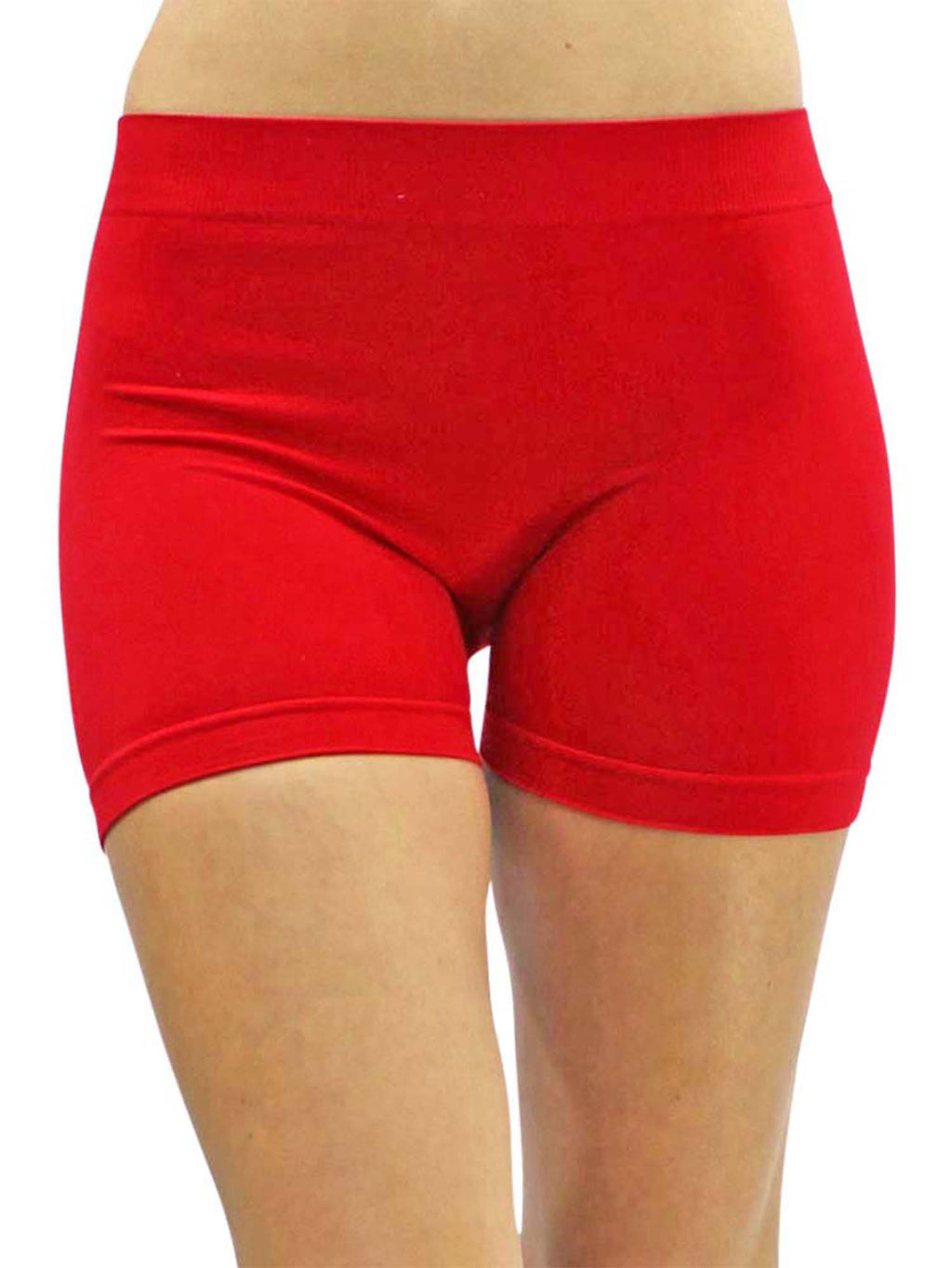 "Red Stretchy 10"" Seamless Yoga Shorts"