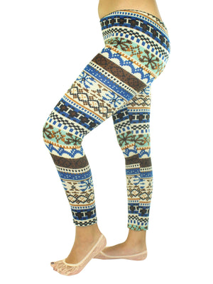 Colorful Holiday Snowflake Print Leggings
