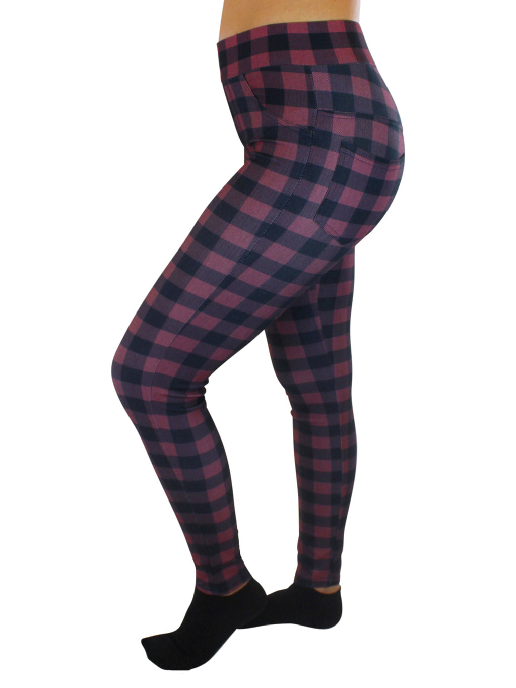 Plaid Stretchy High Waist Leggings