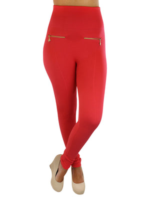 Fleece Lined Gold Zippered Leggings