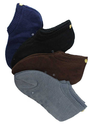 Solid Color 4 Pack Assorted Soft Knit Slipper Socks