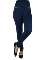 Fleece Lined Leggings With Gold Zippers