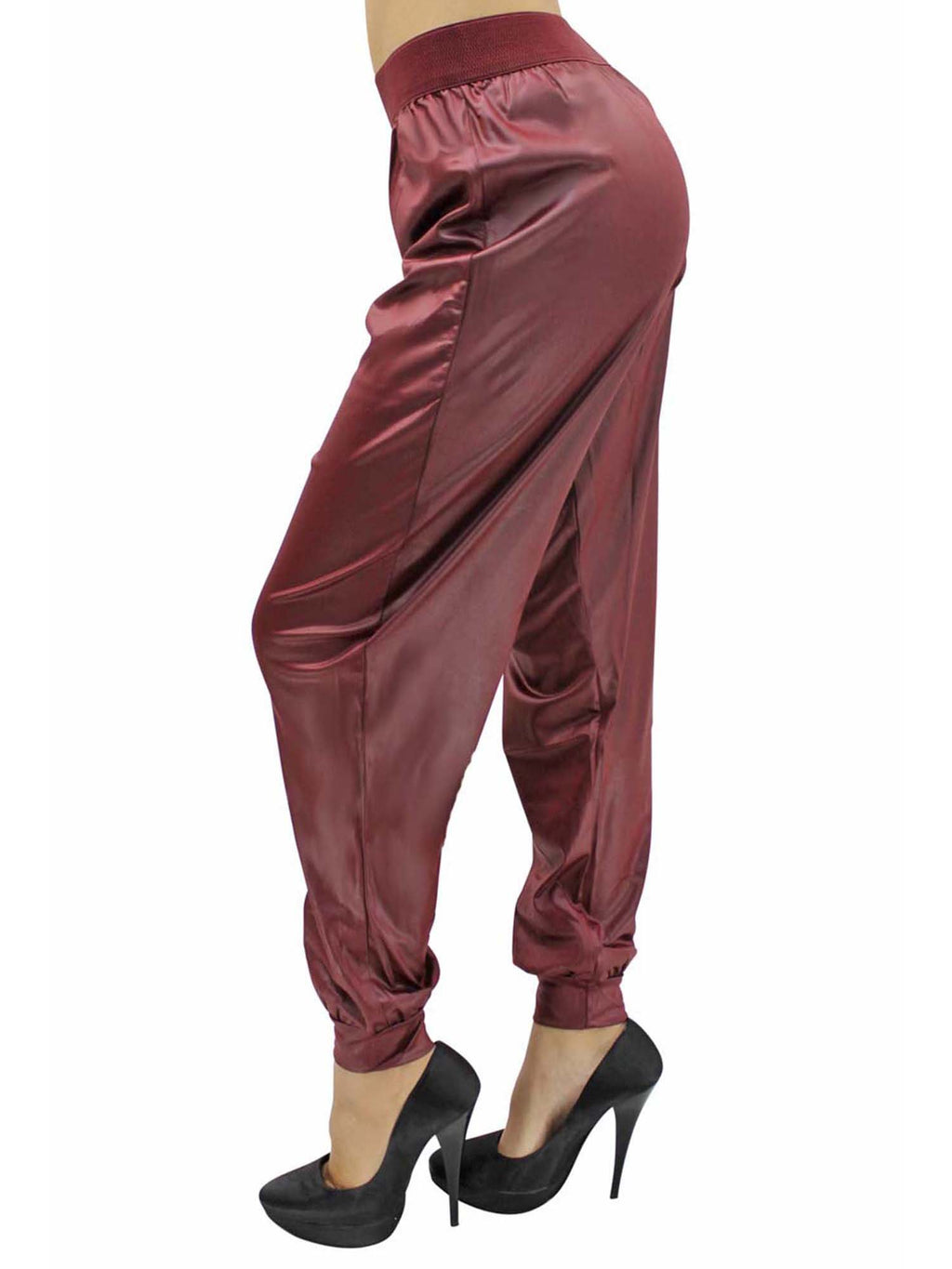 Faux Leather Harem Joggers