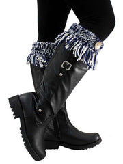 Tassel Boot Cuffs With Button Trim