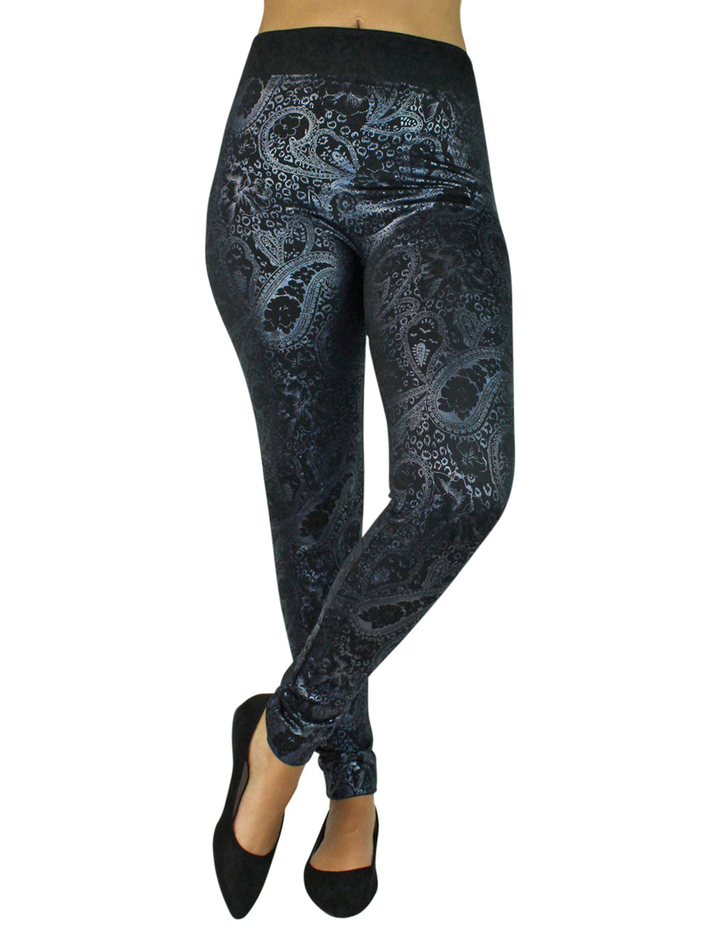 Black & Silver Metallic Paisley Print Leggings