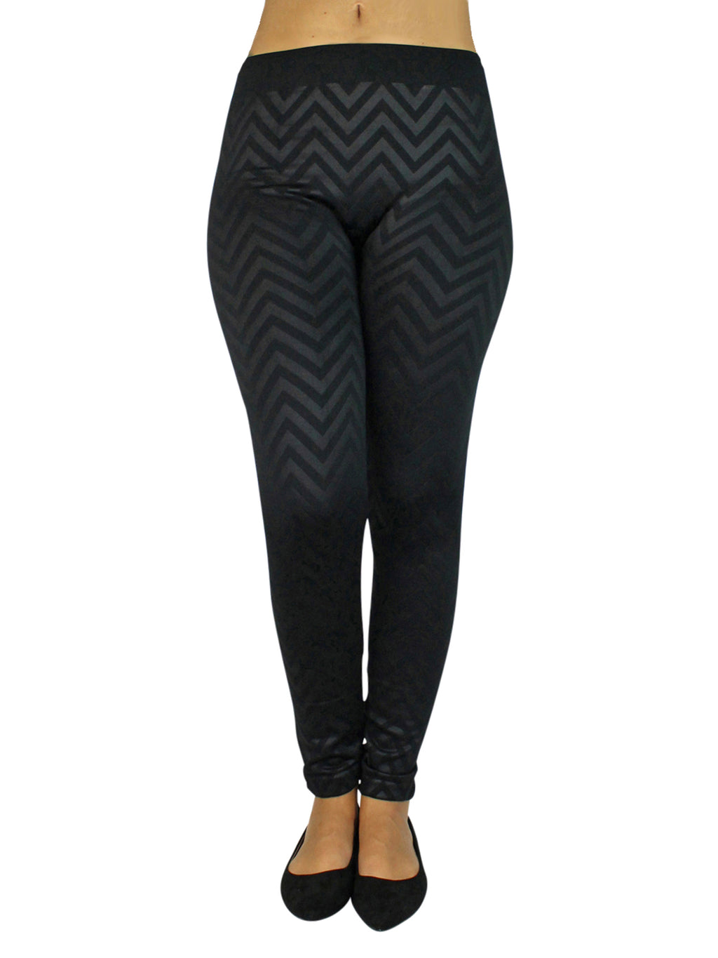 Black Chevron Stripe Leggings With Fleece Lining