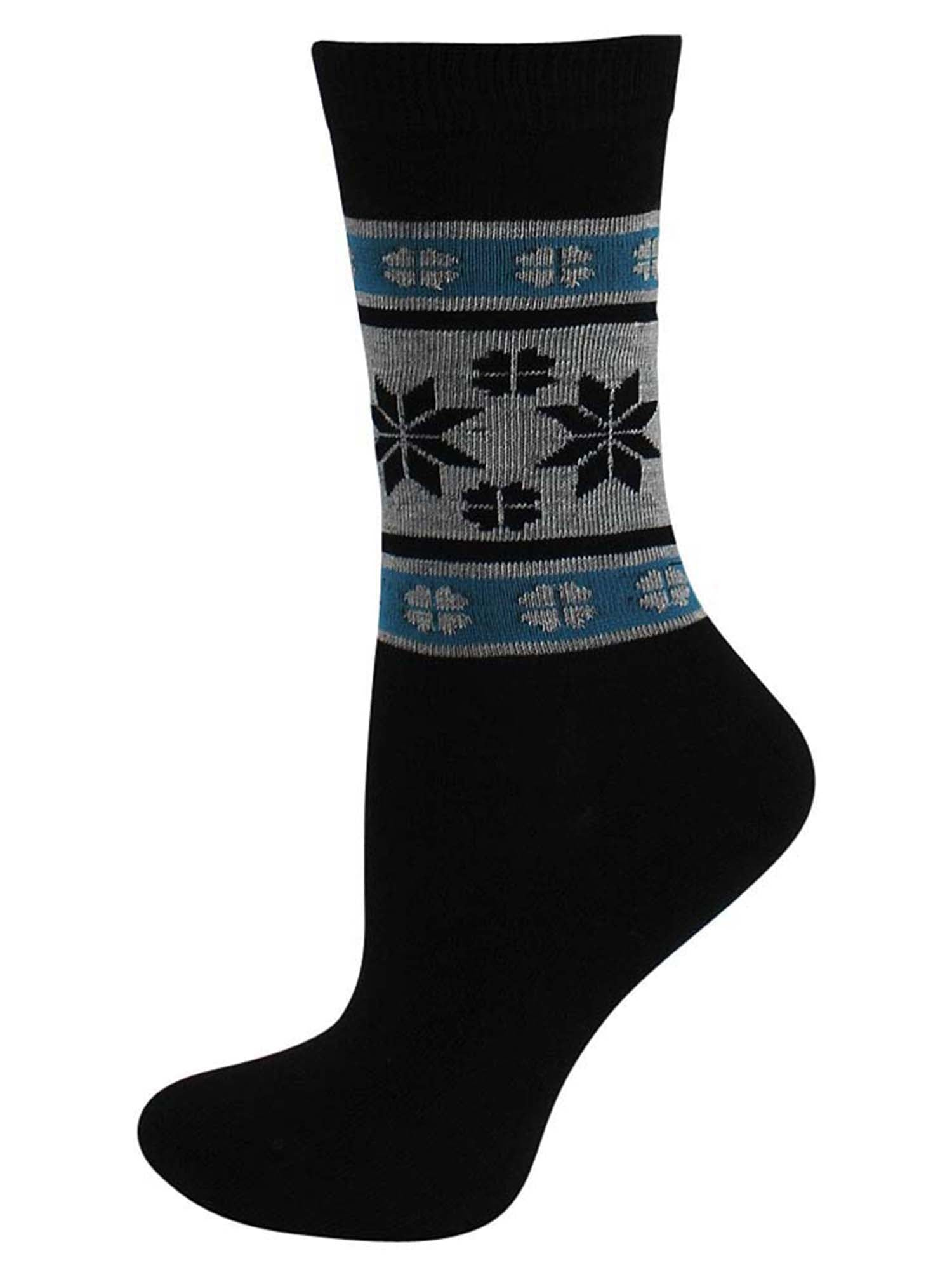 Winter Mix Snowflake Print 6 Pack Assorted Womens Crew Socks