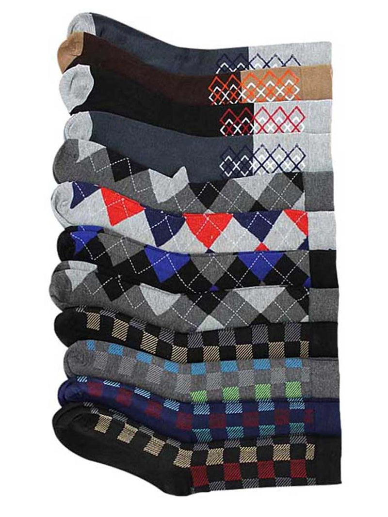 Checkered & Argyle 12 Pack Dress Socks For Men