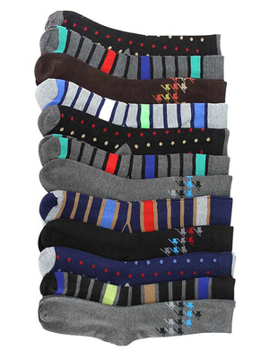 Polka Dot Stripe & Houndstooth 12 Pack Dress Socks For Men