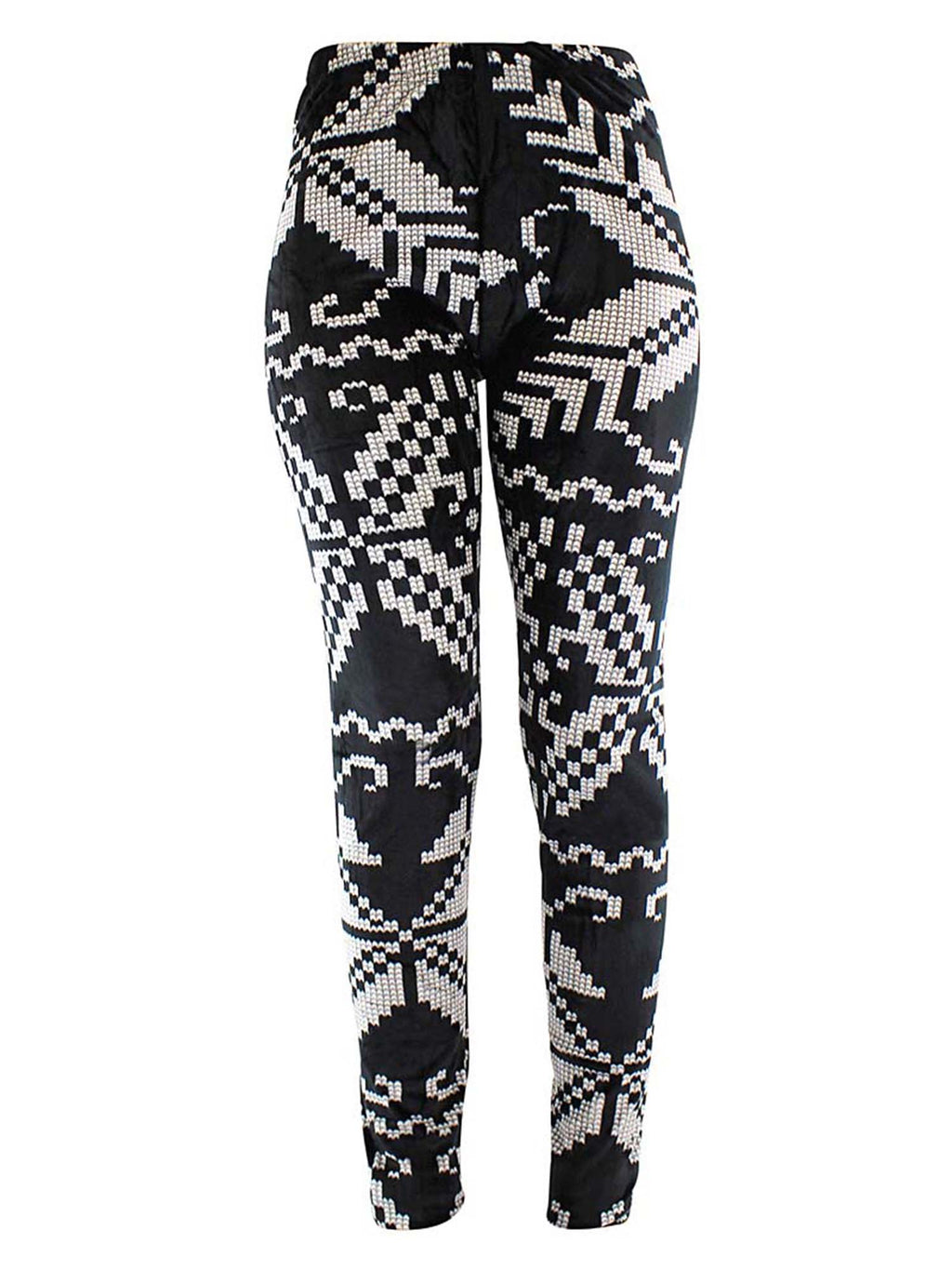 Black & White Winter Snowflake Velour Leggings