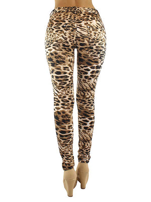 Leopard Print Jeggings With Pockets