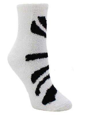 Zebra Print 6-Pack Assorted Soft & Fuzzy Socks