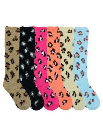 Colorful 6-Pack Leopard Print Knee High Fuzzy Socks