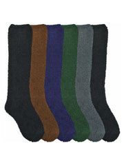 Solid Color Toasty 6-Pack Knee High Fuzzy Socks