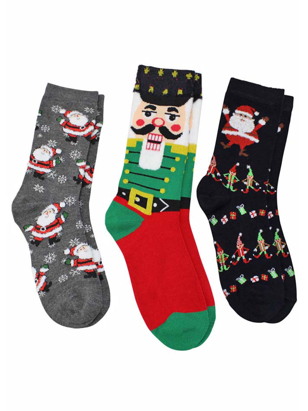 Christmas Holiday Print Womens 3 Pack Crew Socks