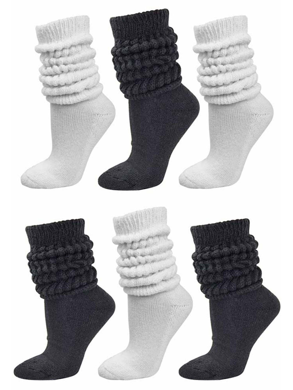 Black & White All Cotton 6-Pack Extra Heavy Super Slouch Socks