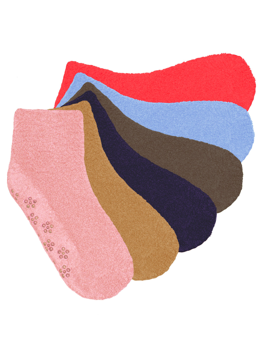 Non Skid Light Colors 6 Pack Fuzzy Socks