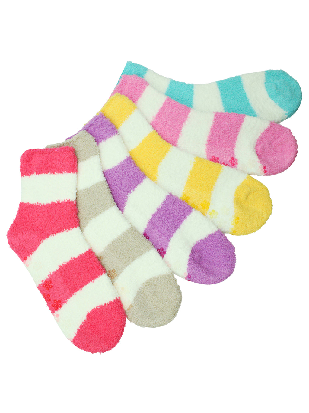 Light Multicolor Striped 6 Pack Fuzzy Womens Socks