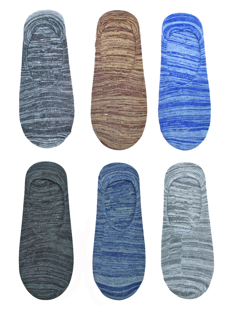 Marled Knit Mens 6 Pack No Show Ankle Socks