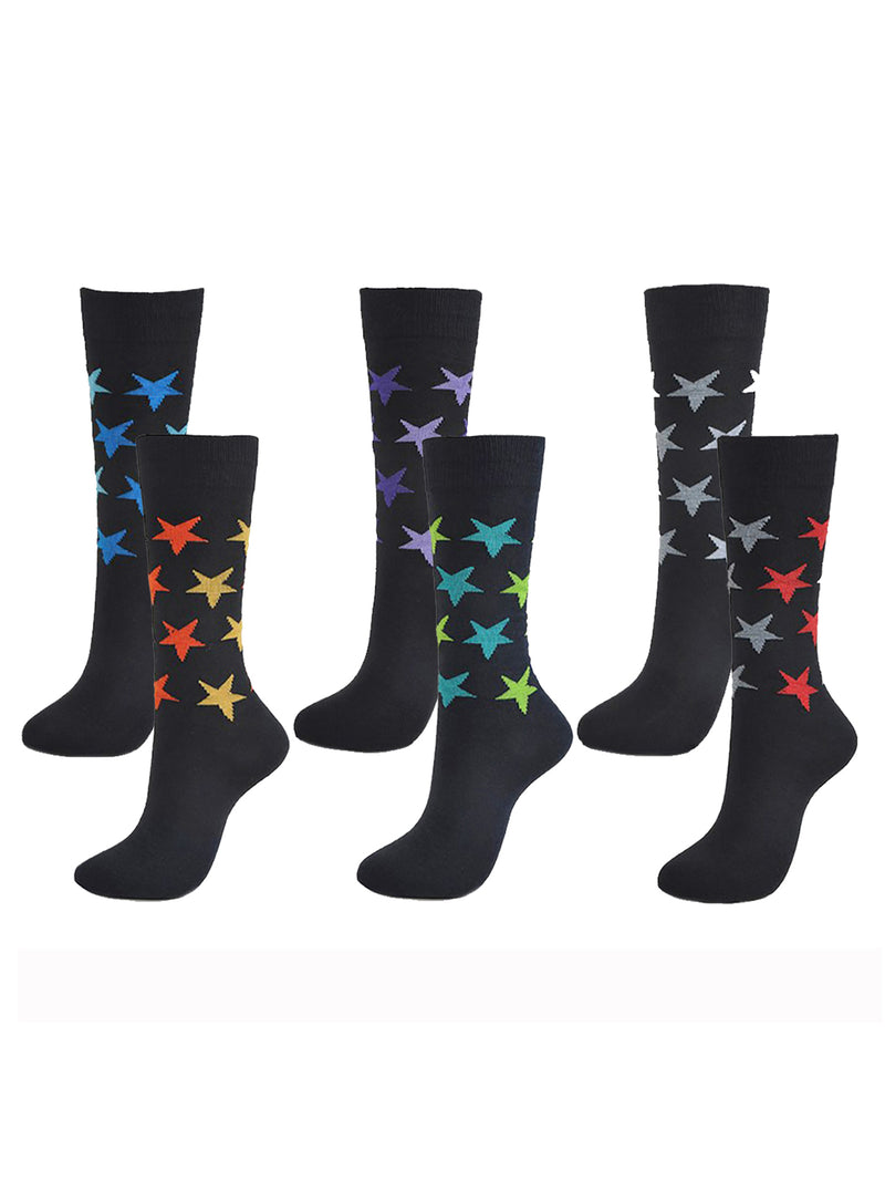 Cotton Blend Colorful 6 Pack Dress Socks For Men