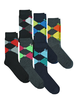 Mens 6 Pair Pack Classic Argyle Dress Socks