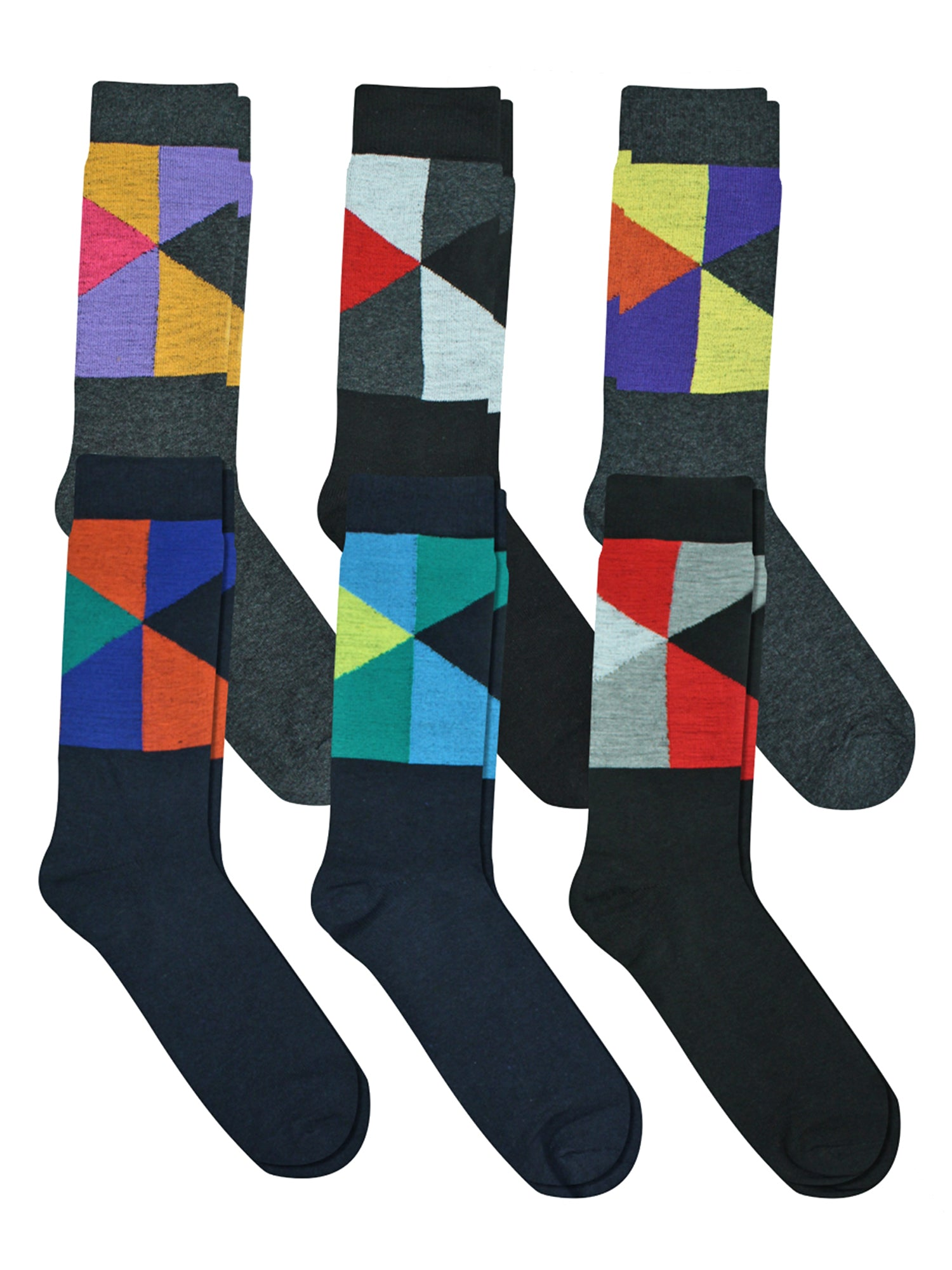 6-Pack Mens Cotton Blend Geometric Dress Socks