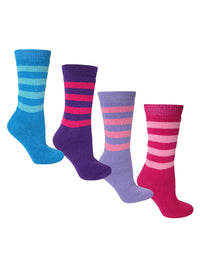 Multicolor Two Tone Stripe 4-Pack Thermal Socks