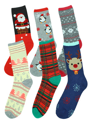 Christmas Holiday 6-Pack Crew Socks For Women
